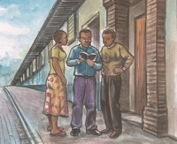 Painting of three black people standing around an open Bible