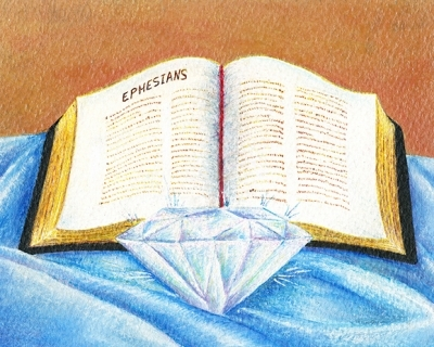 Colored drawing of Bible open to Ephesians with a large diamond beneath it