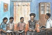 Painting of black family listening while father teaches the Bible