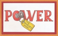 Colored drawing of the word 'POWER' with a key in the 'O'. The key has a tag that reads 'THE RENEWED MIND.'