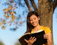 Hispanic teenager reading the Bible next to a tree