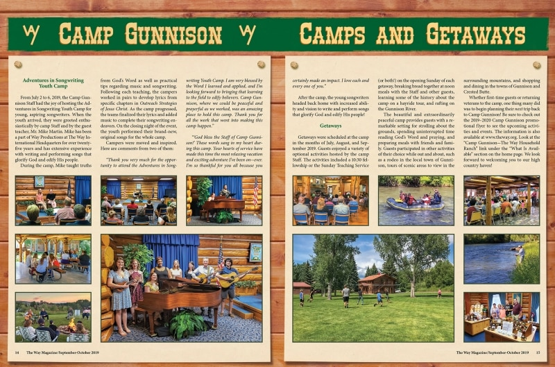 Camp Gunnison spread in The Way Magazine