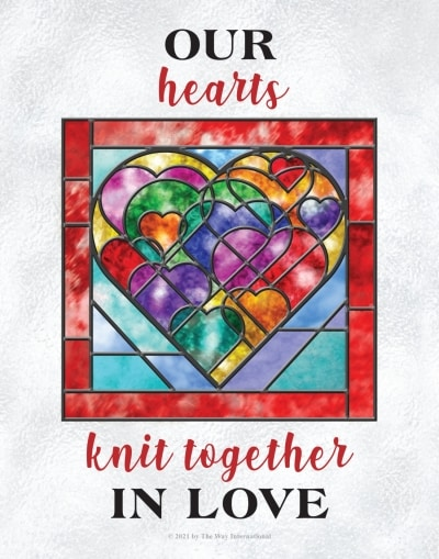 Our Hearts Knit Together in Love—The Way International theme poster for 2021-2022 in English